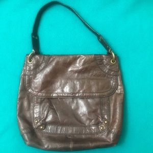 Fossil Leather Shoulder Bag Mulitple Compartments